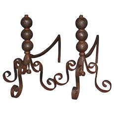 Pair of Jan Barboglio Wrought Iron Andirons