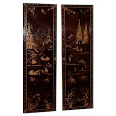 Impressive 18th to 19th Century Chinese Hand Painted Door Panels