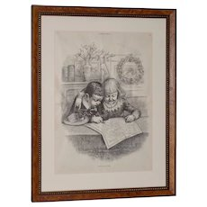 """Thomas Nast for Harpers Weekly """"Santa Claus's Route"""" Illustration c.1880s"""