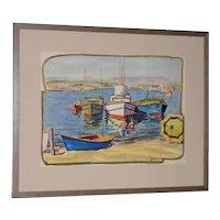 "Justin Faivre (California 1902-1990) ""Day at the Beach"" Original Watercolor c.1944"