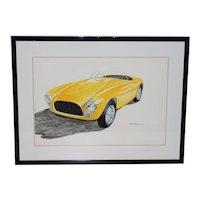Classic Yellow Ferrari Original Watercolor by Stan Petersen c.1993