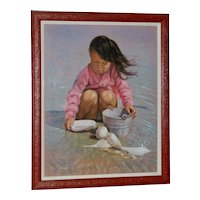 Collecting Seashells on the Seashore Original Pastel Painting
