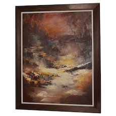 """Don Clausen """"Warm Winter Sky"""" Abstract Landscape Oil Painting c.1963"""