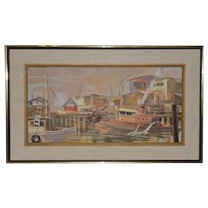 "Jack Wilson ""Harbor Bustle"" Original Palette Knife Oil Painting c.1970"
