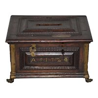 Early 18th Century Carved Walnut & Brass Alms Box C. 1724
