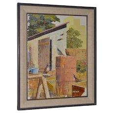"Jack Wilson ""The Backyard Gang"" Original Palette Knife Painting c.1970"