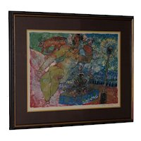 """Theo Tobiasse (1927-2012) """"Woman"""" Original Color Lithograph Signed / Numbered c.1960s"""