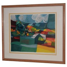 Marcel Mouly (1918-2008) Rolling Hills Landscape Lithograph