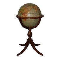"""Weber Costello Co. Political Reality 16"""" Globe on Mahogany Pedestal Stand c.1940"""