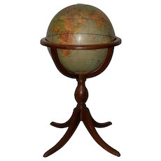 "Weber Costello Co. Political Reality 16"" Globe on Mahogany Pedestal Stand c.1940"