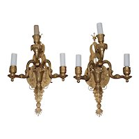 Pair of 19th Century Classical Gilded Brass Sconces