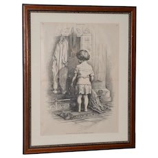 """Thomas Nast """"Santa Can't Say"""" For Harpers Weekly c.1890s"""