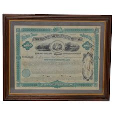 The Housatonic Railroad Company Framed Bond Certificate c.1880