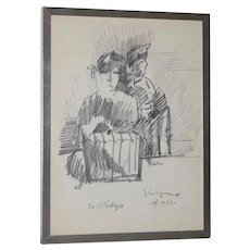 "John Young (Hawaii, 1909-1997) ""Bali"" Original Graphite Drawing c.1971"
