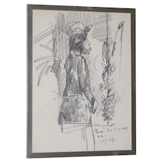 "John Young (Hawaii, 1909-1997) ""Balinese Woman"" Original Graphite Drawing c.1971"