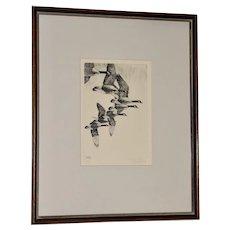 """Richard Bishop (American, 1887-1975) """"Geese"""" Etching c.1938"""