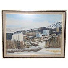 Jack Hambleton (1916-1988) Snowy Industrial Landscape Watercolor c.1970