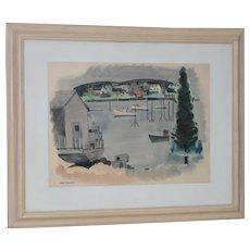 """Jason Schoener (1919-1997) """"Boothbay Harbor"""" Original Watercolor c.1950s"""