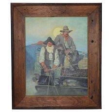 "Vintage ""Tucson Cowboys"" Original Oil Painting"