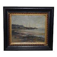 "Frederick Leo Hunter (1858-1943) ""Port Jefferson"" Original Oil Painting c.1890s"