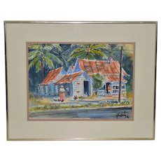 "Vintage Watercolor ""Island Life"" Original Painting c.1988"