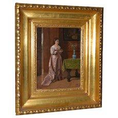 Oil Portrait of an Elegant Young Woman Arranging Flowers