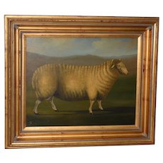 "19th Century English ""Prized Sheep"" Oil Painting"