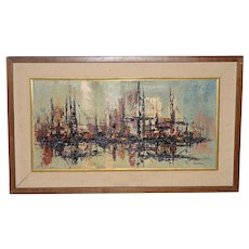 Mid Century Modern Abstract Cityscape by Garcia c.1950s