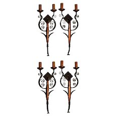 Set of Four Iron & Sheet Metal Wall Sconces c.1920s