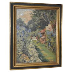 Flowering Garden Dell w/ Bench Oil Painting 1940s to 1950s