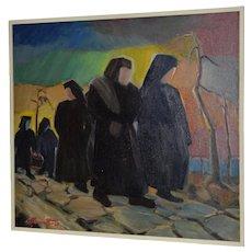 "Mid Modern ""Nun Pilgrimage"" Original Oil Painting c.1967"