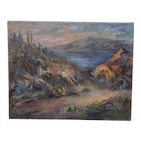 "Irina Roublon ""Luminous Mountain Landscape"" Oil Painting C.1960s"