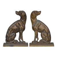 """19th Century Cast Iron """"Shorthaired Pointer"""" Andirons c.1880s"""