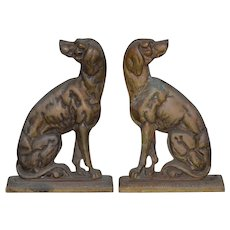 "19th Century Cast Iron ""Shorthaired Pointer"" Andirons c.1880s"