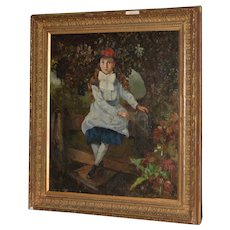 19th Century Oil Portrait of a Young Girl on a Garden Fence