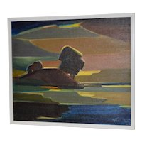 Modernist West Marin Landscape Oil Painting c.1969
