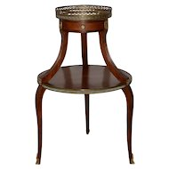 Exquisite Two Tier Italian Mahogany & Marble Side Table c.1910