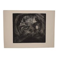 "Terry Haas (Czechoslovakia, b.1923) ""Of the Earth"" Etching w/ Aquatint c.1960"