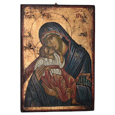 Vintage Hand Painted Greek Icon w/ Mary and Child