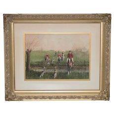 "19th Century ""Brooks & Rails"" English Fox Hunt Watercolor c.1899"