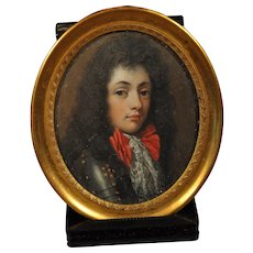 Miniature Portrait of Young Charles II of England Wearing a Suit of Armor 19th c.