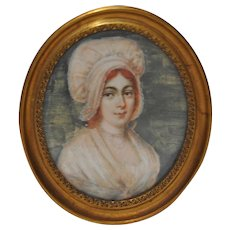 Fine 19th Century Miniature Portrait of a Woman w/ Red Hair and a Pink Bonnet