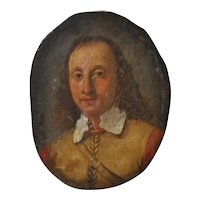 17th Century Portrait Miniature on Copper of Oliver Cromwell c.1650