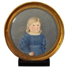 Charming 19th Century Portrait Miniature of a Young Child Holding a Ball