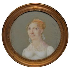 Early 19th Century Portrait Miniature Woman with Tiara c.1823 *signed
