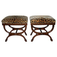 Pair of William Switzer Carved Curule Benches