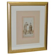 Original 19th c. French Military Cartoon Illustration
