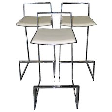 Set of Three Chrome & White Leather Modern Bar Stools