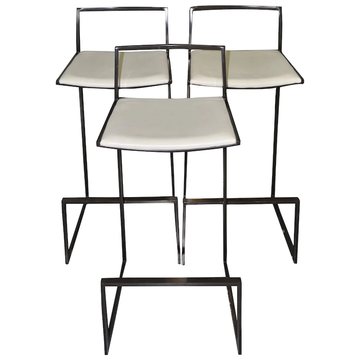 Admirable Set Of Three Espresso Chrome White Leather Modern Bar Stools Pdpeps Interior Chair Design Pdpepsorg