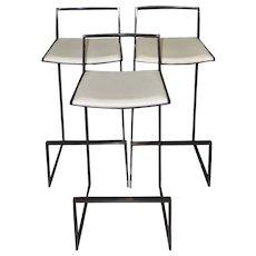 Set of Three Espresso Chrome & White Leather Modern Bar Stools